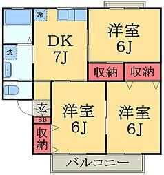 千葉県千葉市緑区おゆみ野6の賃貸アパートの間取り
