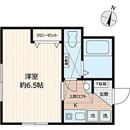 東武東上線 鶴ヶ島駅 徒歩6分の賃貸アパート 2階1Kの間取り