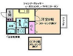 大阪府池田市綾羽2丁目の賃貸アパートの間取り