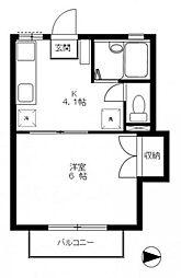 トムズハウス六高台[203号室]の間取り