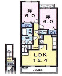 東京都立川市砂川町3丁目の賃貸アパートの間取り