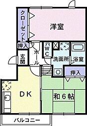 愛知県豊橋市南大清水町字藤ケ谷の賃貸アパートの間取り