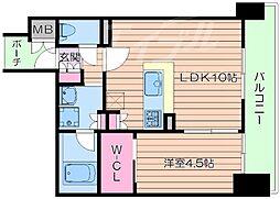 Osaka Metro御堂筋線 江坂駅 徒歩5分の賃貸マンション 2階1LDKの間取り
