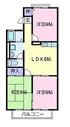 コマーノ松ヶ丘B棟[2階]の間取り