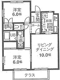 神奈川県横浜市青葉区荏田西1丁目の賃貸アパートの間取り