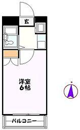 JR高崎線 北鴻巣駅 徒歩4分の賃貸マンション 3階1Kの間取り