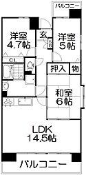 グランコープ津田B棟[6階]の間取り