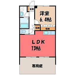 栃木県栃木市薗部町4丁目の賃貸アパートの間取り