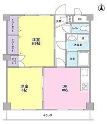東急東横線 日吉駅 徒歩20分の賃貸マンション 3階2DKの間取り