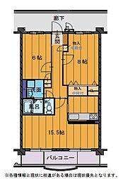 ハートフルマンションVillaLuna[A301号室]の間取り
