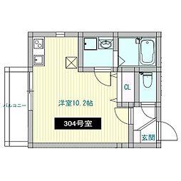 えごの木ハウス(エゴノキハウス) 3階ワンルームの間取り