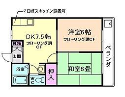 大阪府豊中市柴原町5丁目の賃貸アパートの間取り