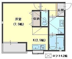 Prunus court 3階1Kの間取り