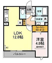 福岡市地下鉄空港線 赤坂駅 徒歩8分の賃貸アパート 3階1LDKの間取り