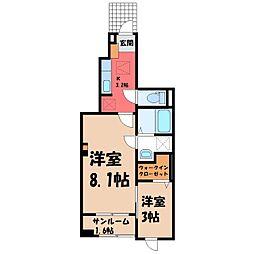 雀の宮2丁目アパート(025558901) 1階1SKの間取り