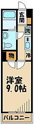 京王線 仙川駅 徒歩8分の賃貸マンション 2階1Kの間取り