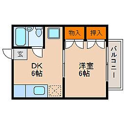滋賀県米原市西山の賃貸アパートの間取り