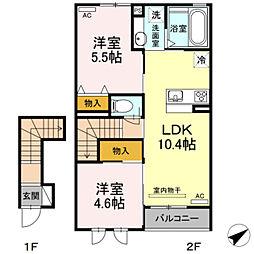 愛知県豊橋市高師町字水神の賃貸アパートの間取り