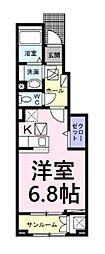 埼玉新都市交通 今羽駅 徒歩11分の賃貸アパート 1階1Kの間取り