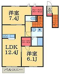 千葉県市原市ちはら台東1丁目の賃貸アパートの間取り