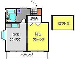神奈川県横浜市港南区上大岡東3丁目の賃貸アパートの間取り
