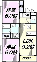 JR青梅線 拝島駅 徒歩20分の賃貸マンション 1階2LDKの間取り