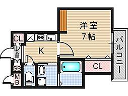 大阪府大阪市東成区東小橋2丁目の賃貸マンションの間取り