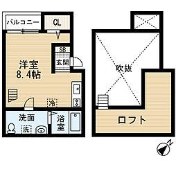 あーばんらいふ箱崎[201-0号室]の間取り