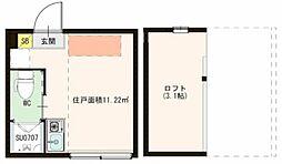 ハーモニーテラス松島II 2階ワンルームの間取り