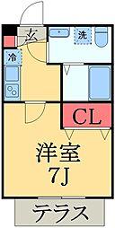 京成本線 実籾駅 徒歩2分の賃貸アパート 1階1Kの間取り