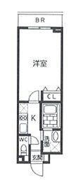 東急世田谷線 上町駅 徒歩5分の賃貸マンション 3階1Kの間取り