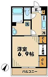 小田急多摩線 黒川駅 徒歩5分の賃貸アパート 1階1Kの間取り