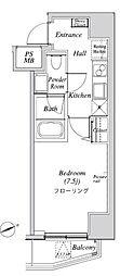 ニューガイア リルーム芝 5階1Kの間取り