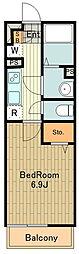 JR南武線 西国立駅 徒歩13分の賃貸マンション 1階1Kの間取り