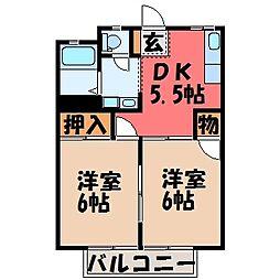 栃木県宇都宮市鶴田町の賃貸アパートの間取り
