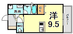 JR東海道・山陽本線 甲子園口駅 徒歩7分の賃貸マンション 3階ワンルームの間取り