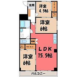栃木県宇都宮市一条1丁目の賃貸マンションの間取り