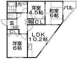マンションカトレア[4階]の間取り