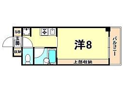 阪神本線 西宮駅 徒歩2分の賃貸マンション 4階1Kの間取り
