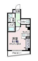 千葉県船橋市本中山1丁目の賃貸マンションの間取り