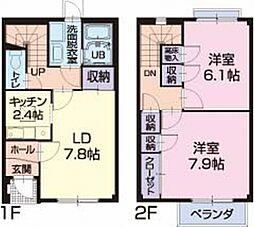 岐阜県美濃加茂市加茂野町稲辺の賃貸アパートの間取り