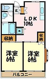 ランドール3 1階2LDKの間取り