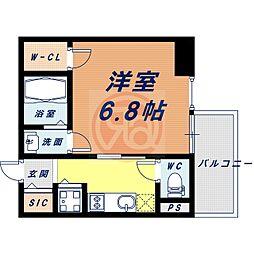 近鉄大阪線 大阪上本町駅 徒歩4分の賃貸マンション 5階1Kの間取り