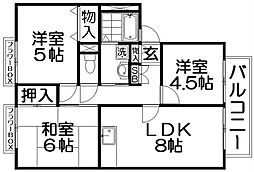 カルチェ東香里II[2階]の間取り