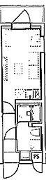 デコールブロッコ武蔵関 2階ワンルームの間取り