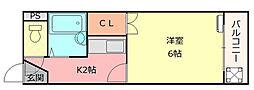 オーナーズマンション友井 仲介手数料10800円 専用消毒も[3F号室]の間取り