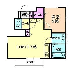 阪急宝塚本線 服部天神駅 徒歩19分の賃貸アパート 1階1LDKの間取り
