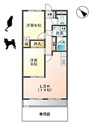 愛知県岡崎市舳越町字十王の賃貸アパートの間取り