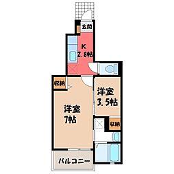 栃木県小山市城東7丁目の賃貸アパートの間取り