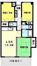 ロイヤルシティ四番館[2階]の間取り